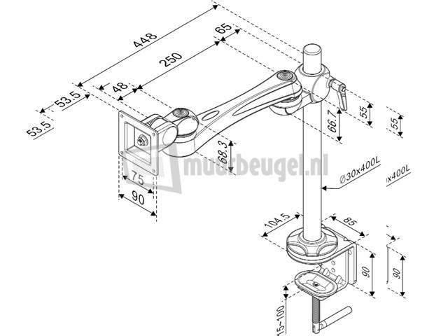 Modernsolid LA-51-2 monitor arm afmetingen