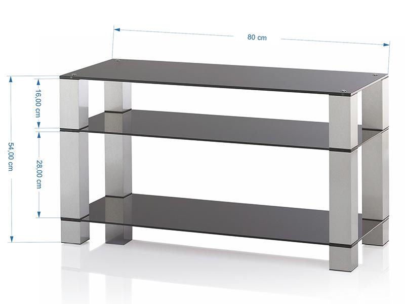 Ultimate glazen tv meubel 80cm breed alu kleur buizen for Tv meubel kleine ruimte