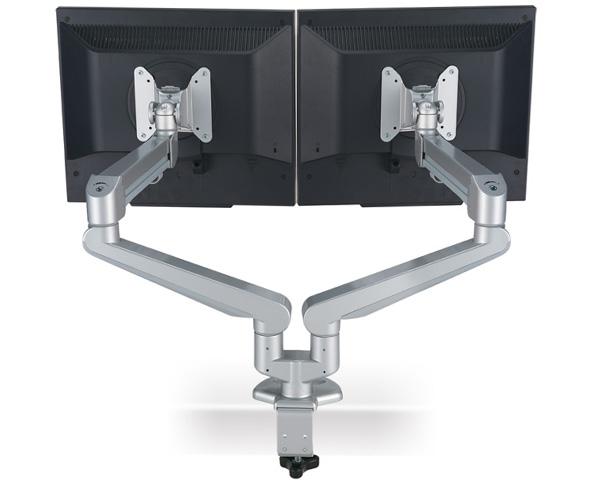 Modernsolid monitor steun voor 2 monitoren bevestiging op for Ladeblok voor op bureau