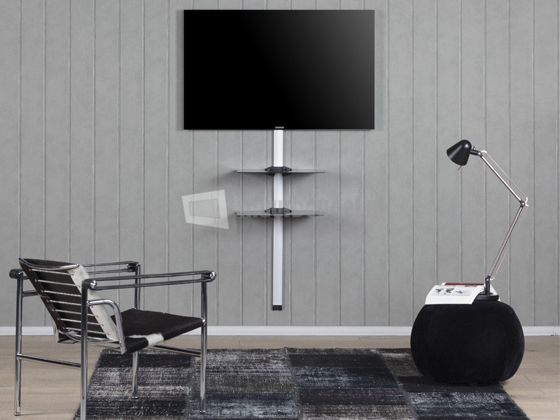 Glazen Tv Meubel Met Kabelgoot.Sonorous Kabelgoot Zwart Met 2x Helder Glas Glasplaten