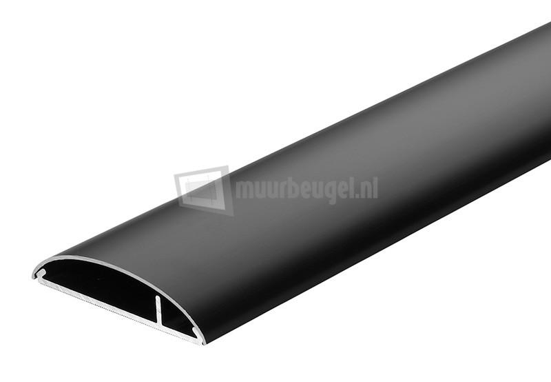 Aluminium kabelgoot zwart 75mm breed x 18mm hoog