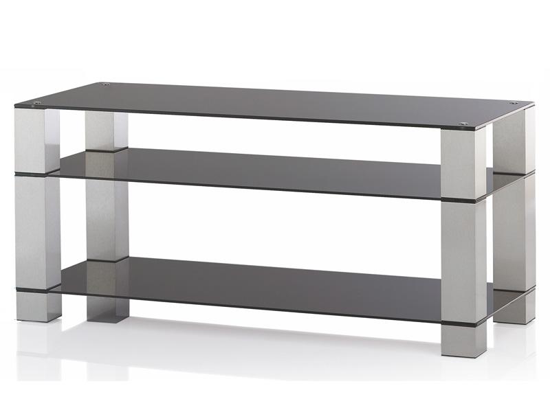 Ultimate glazen tv meubel 80cm breed alu kleur buizen